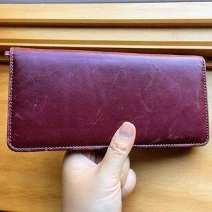 TUSK genuine leather burgundy wine color wallet